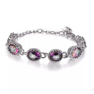 New beautiful Mystic fire topaz silver bracelet